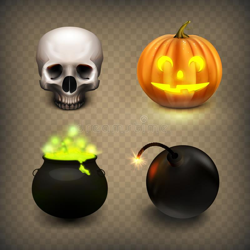 Free Stock Vector Illustration Realistic Skull, Jack-o-lantern, Witches Cauldron, Bomb. Halloween Set Isolated On A Transparent Royalty Free Stock Image - 121064906