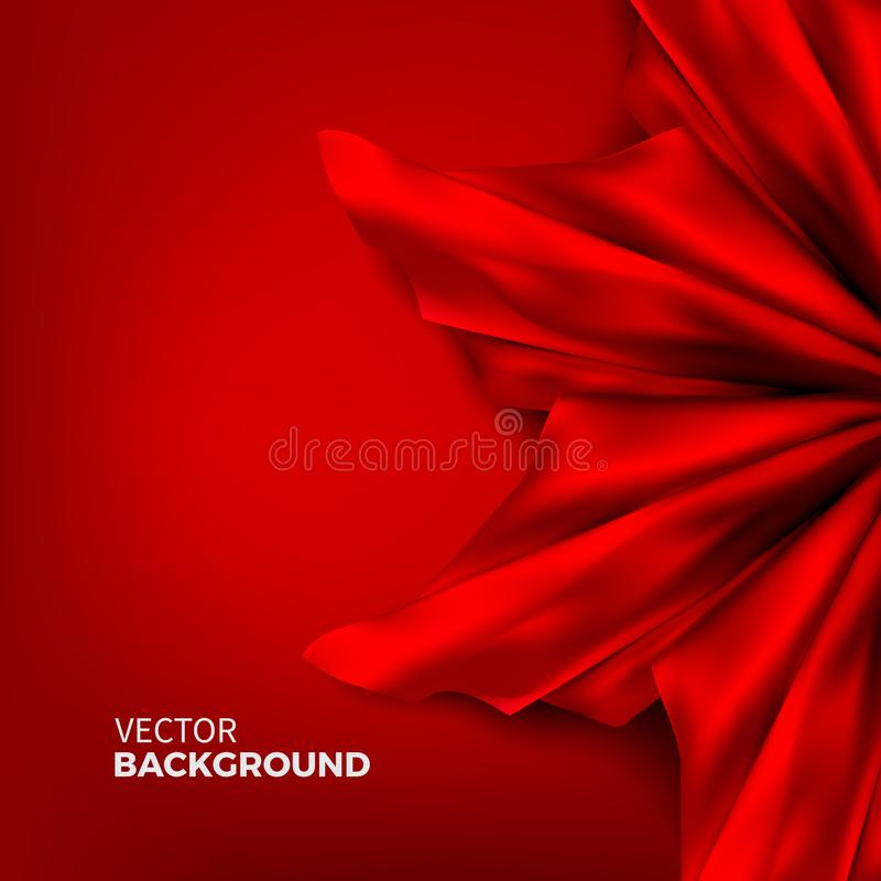 Stock vector illustration. Red silk fabric. Satin texture, cloth, luxury. Abstract colorful minimalistic background. EPS 10 stock illustration
