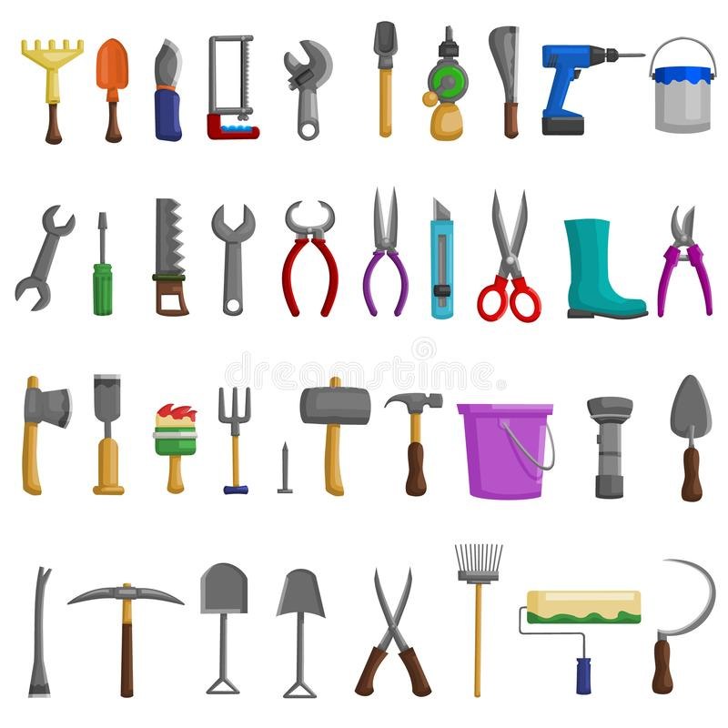 Stock vector illustration set isolated icons building tools repair, construction buildings, drill, hammer, screwdriver, saw, file,. Putty knife, ruler, roller royalty free illustration