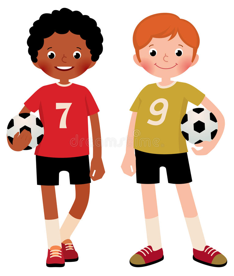 Stock vector illustration of two children boys football players stock illustration