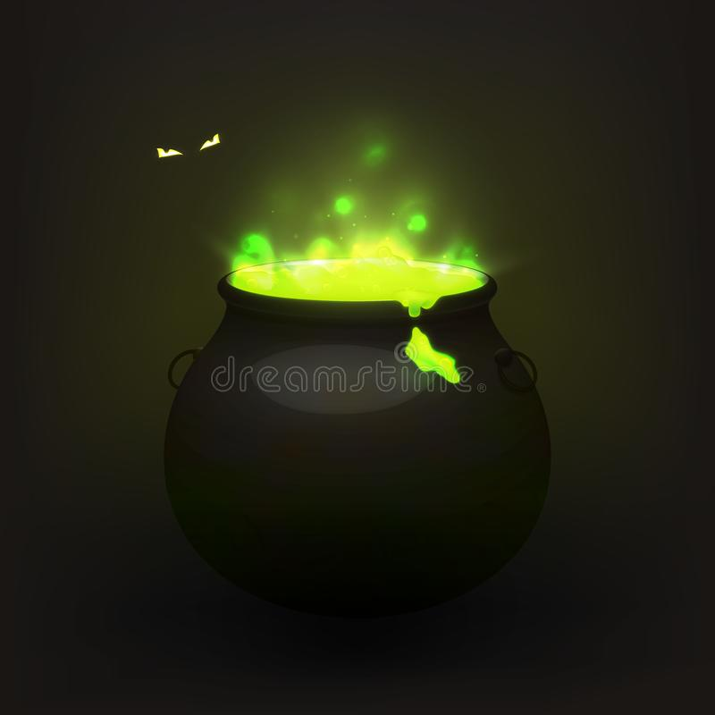 Stock vector illustration witches cauldron isolated on a transparent background. Brewed potion, decoction. Eyes in the dark. vector illustration
