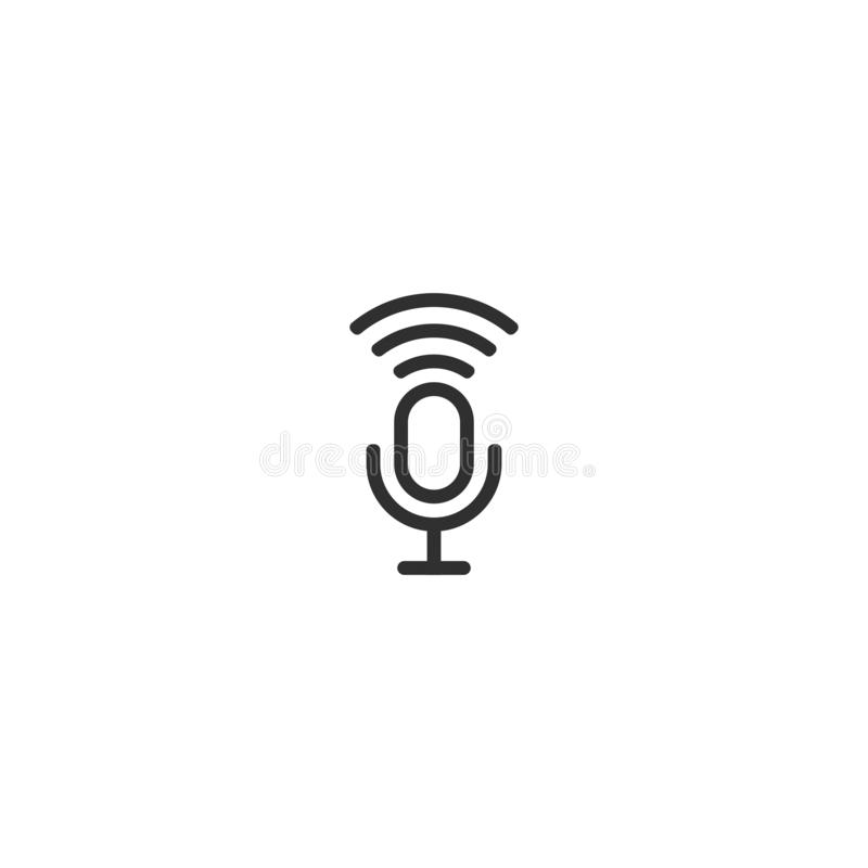 Micrphone line vector icon isolated 2 royalty free illustration