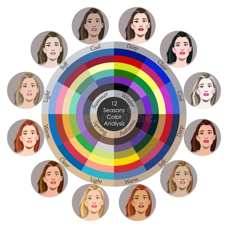 Free Stock Vector Seasonal Color Analysis Palette For All Types Of Female Appearance. Best Colors For 12 Types Stock Images - 156002454