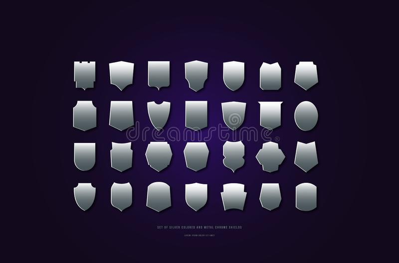 Stock vector silver colored and metal chrome shields silhouettes stock illustration