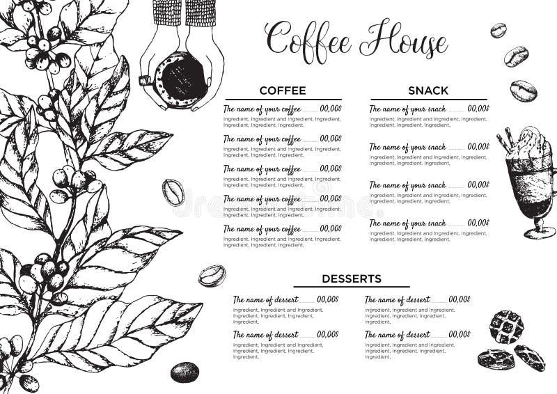 Stock Vektor Template Kaffee House oder Restaurant Menü Ein Getränkeflyer für Bar und Café Vorlage mit handgezogenem Jahrgang stock abbildung