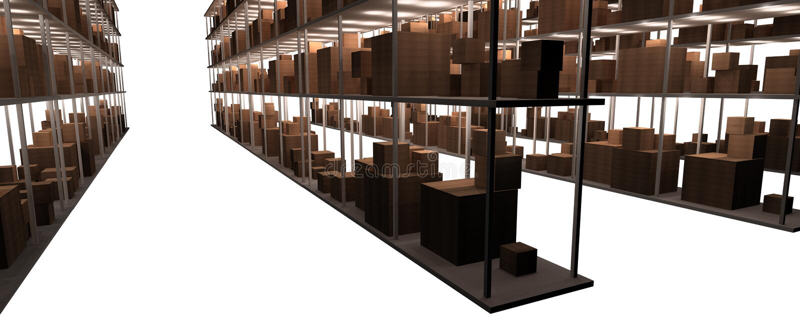 Stock and warehouse shelves. An isolated computer generation of several stock / warehouse shelves ready for distribution royalty free illustration