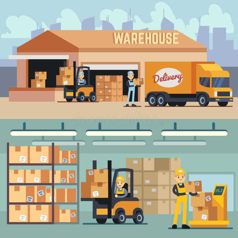 Stockage d'entrepôt et concept de vecteur de logistique d'expédition illustration de vecteur