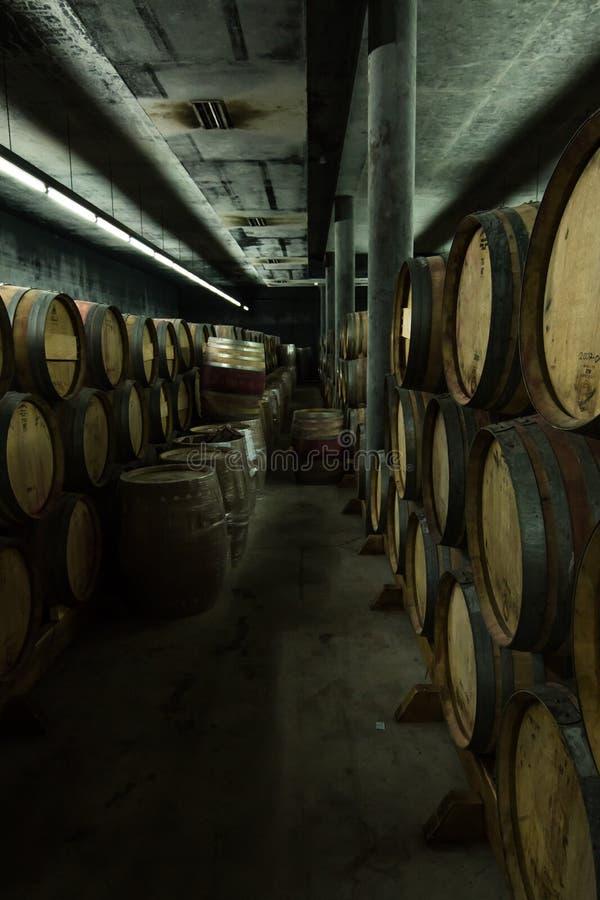 Stockage de celler des barils de vin i photo libre de droits