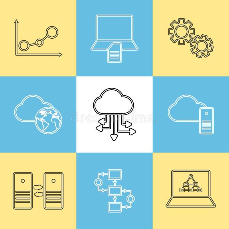 Stockage de données, analyse de données et icônes de transfert illustration de vecteur