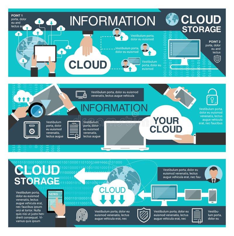 Stockage de données de nuage et technologie de l'information illustration stock