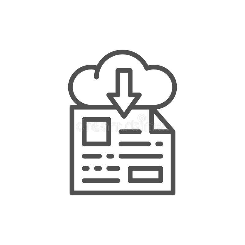 Stockage de fichier en ligne, ligne ic?ne de t?l?chargement illustration stock