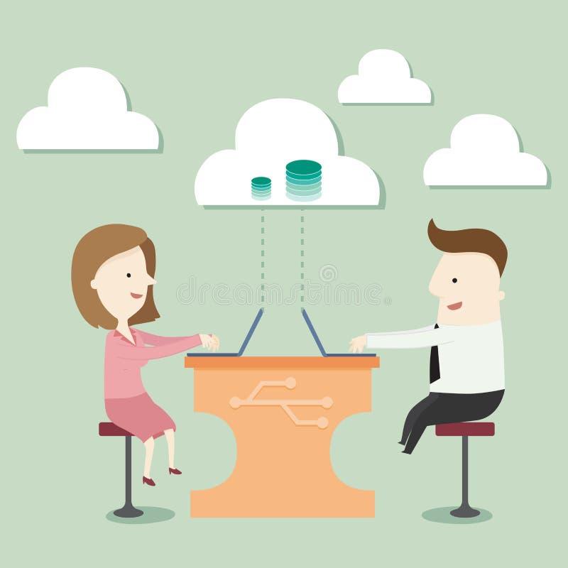 Stockage de nuage avec le réseau illustration libre de droits