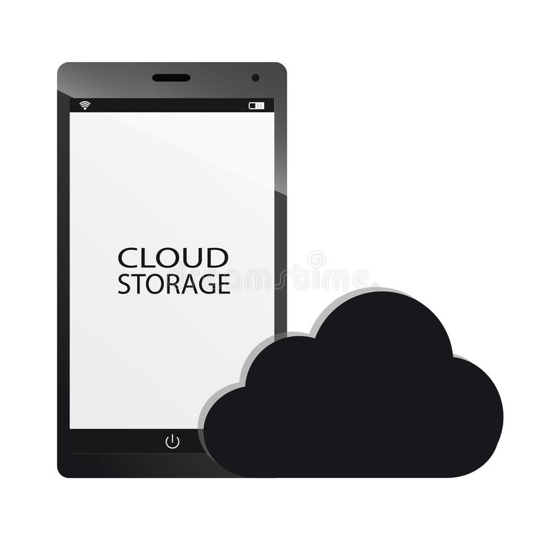 Stockage de nuage et concept futé de téléphone illustration de vecteur
