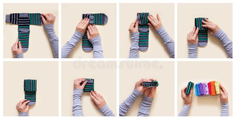 Stockage de vêtements Ordre dans le cabinet Chaussettes se pliantes Clas principal photographie stock libre de droits