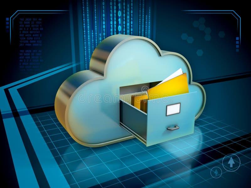 Stockage des documents dans le nuage illustration stock
