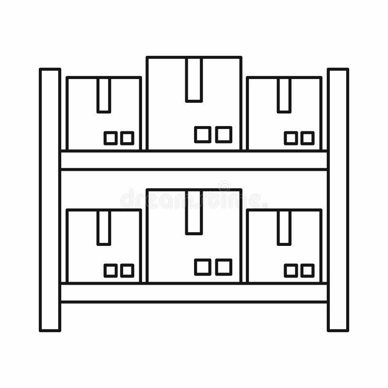 Stockage des marchandises dans l'icône d'entrepôt, style d'ensemble illustration de vecteur