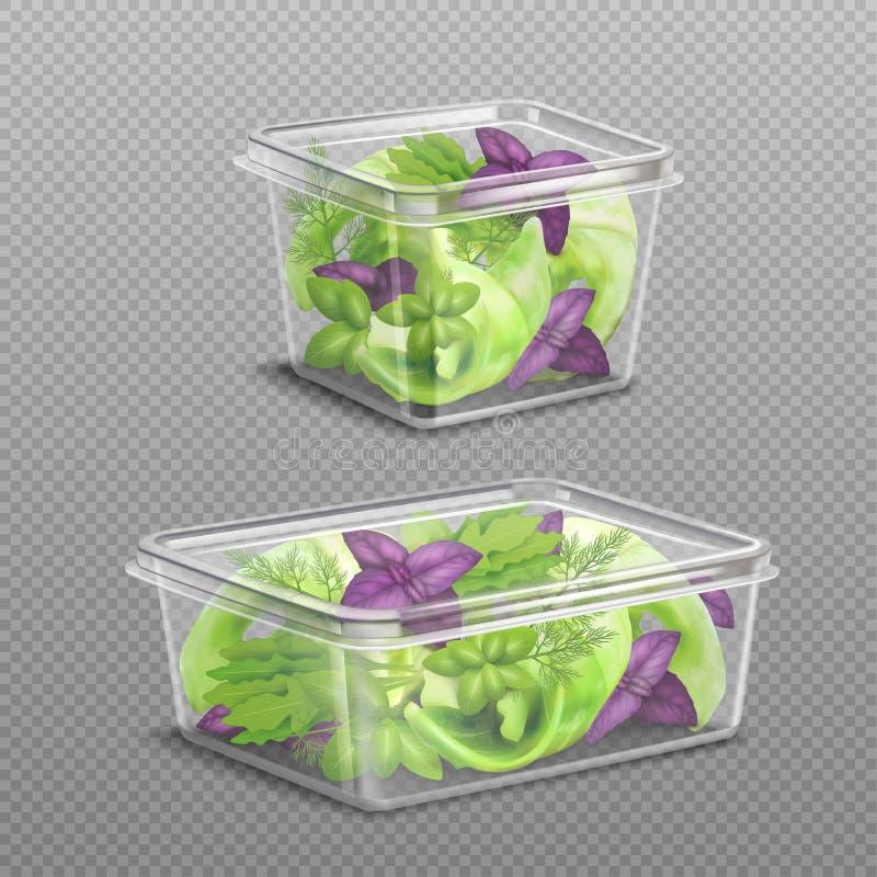 Stockage en plastique de salade fraîche transparent illustration libre de droits