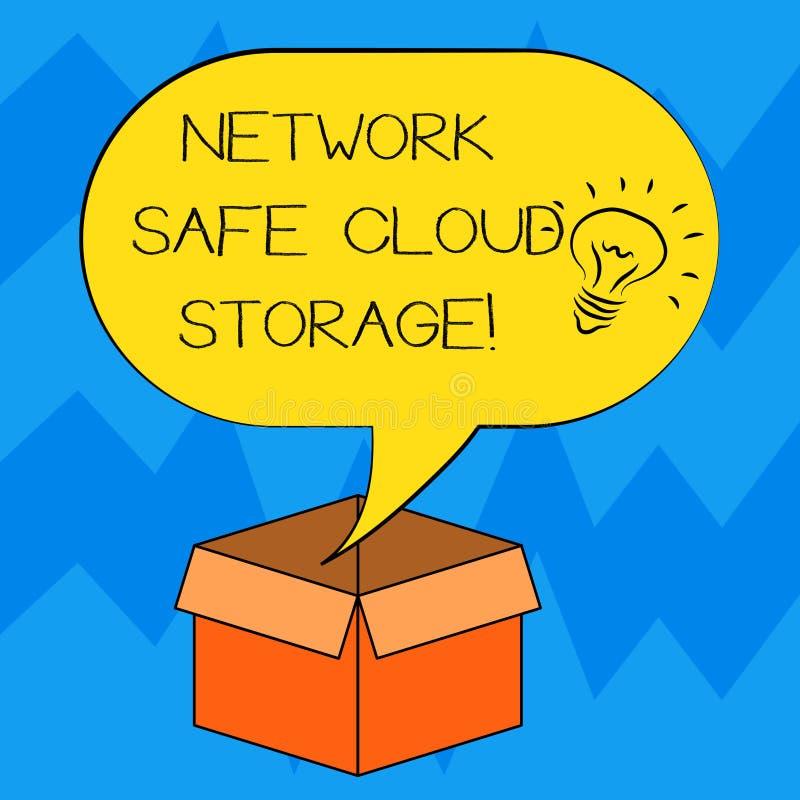 Stockage sûr de nuage de réseau d'apparence de signe des textes Sécurité conceptuelle de photo sur la nouvelle icône d'idée de te illustration stock