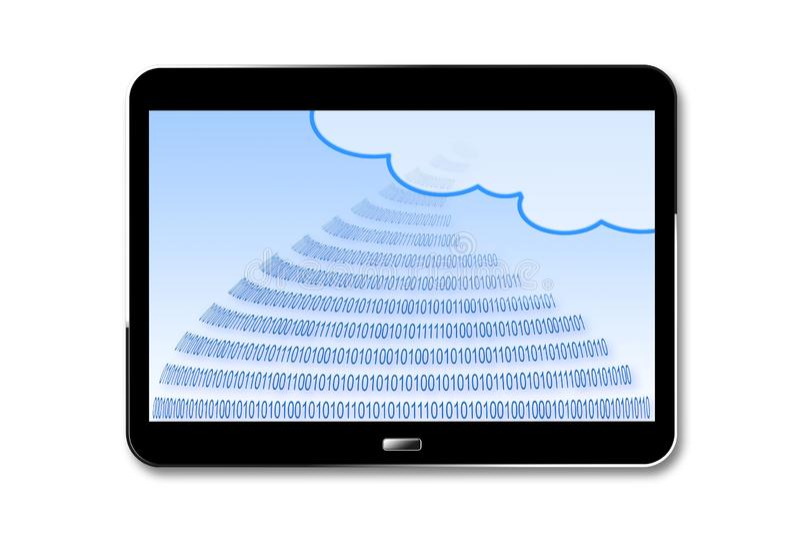 Stockage sûr sur le nuage de service - 3D rendent l'image de concept avec le code binaire et le nuage sur un comprimé numérique s illustration stock