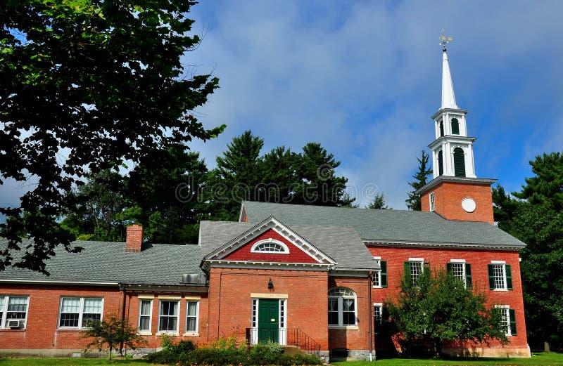 Stockbridge, MA: First Congregational Church. Stockbridge, Massachusetts: The brick First Congregational Church royalty free stock photography