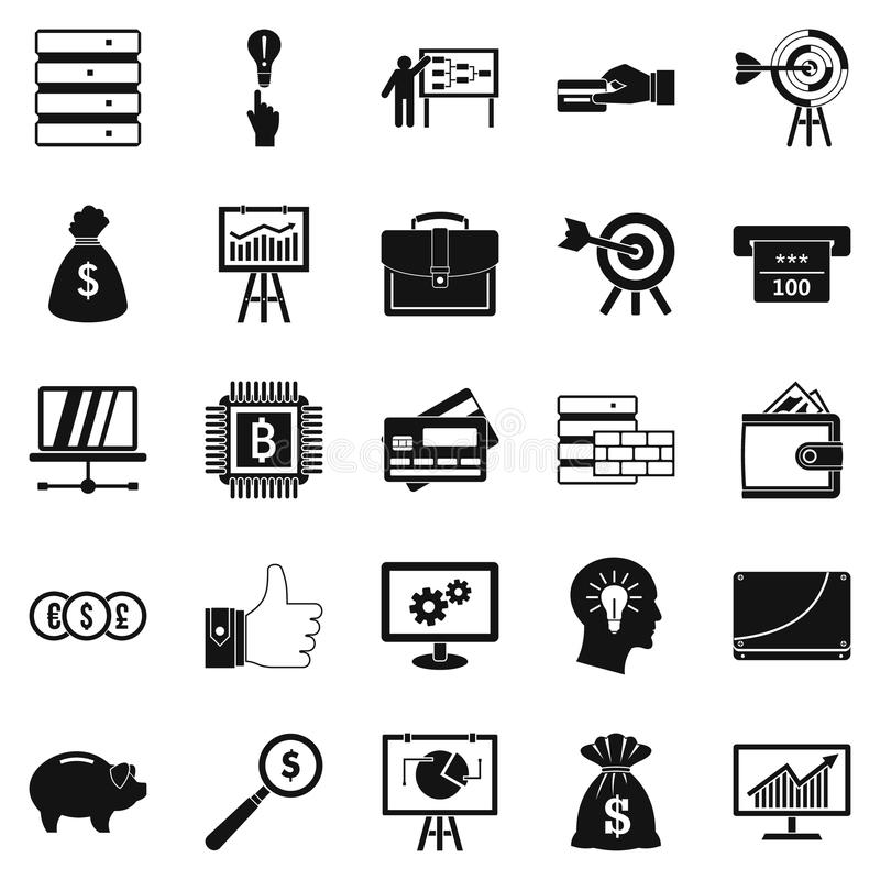Stockbroker icons set, simple style royalty free illustration