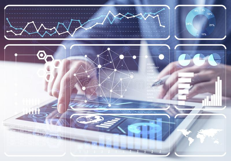 Stockbroker working with financial information stock images