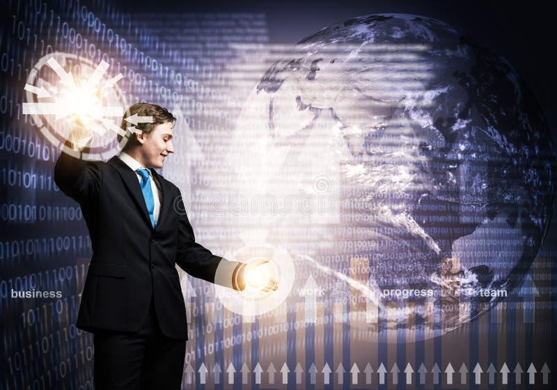 Stockbroker working with virtual financial analytics stock photo