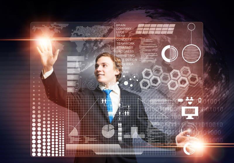 Stockbroker working with virtual financial analytics stock image