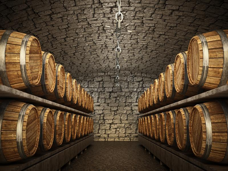 Stocked wine barrels across two sides of corridor of a wine cellar. 3D illustration stock illustration