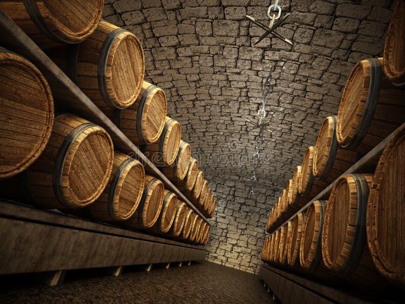 Stocked wine barrels across two sides of corridor of a wine cellar. 3D illustration vector illustration