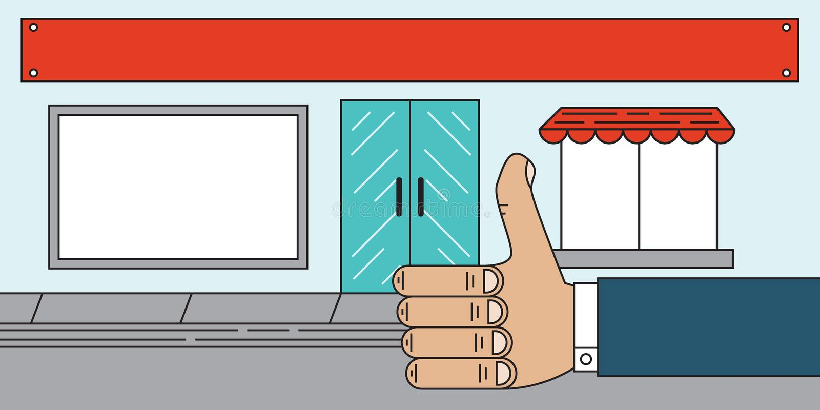 Stockez Front Sales Agency Thumbs Up illustration stock
