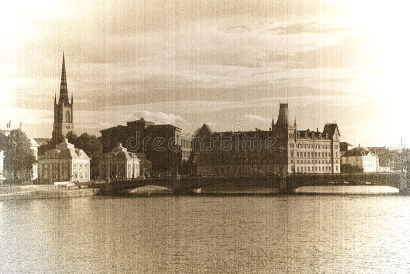 Download Stockholm stock photo. Image of vintage, river, picture - 19491196