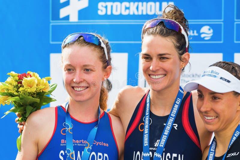 STOCKHOLM - AOÛT, 24 : Les trois médaillés Gwen Jorgensen, non Sta images libres de droits