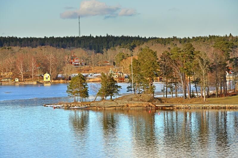 Stockholm archipelago, largest archipelago in Sweden, in Baltic Sea. Landscape on sunny day in early spring.  royalty free stock photo