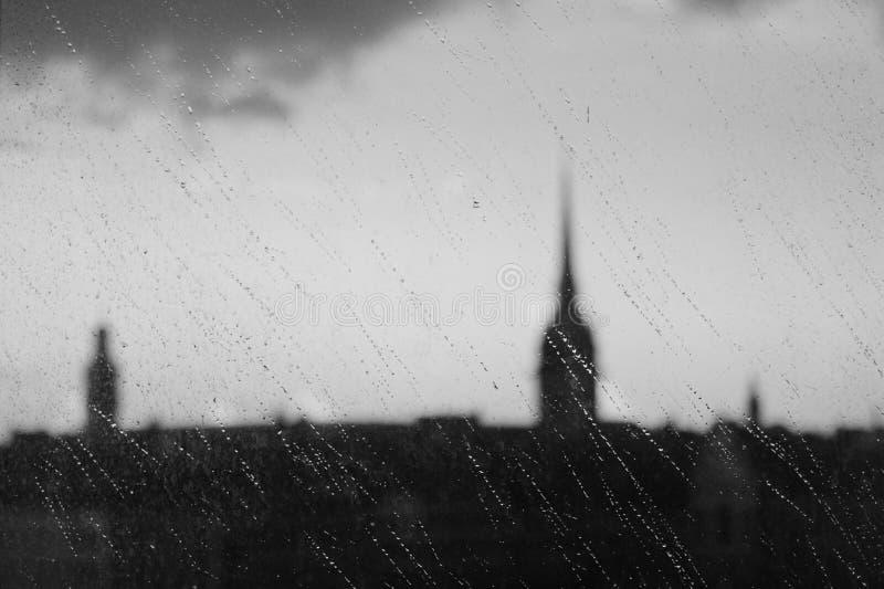 Stockholm au temps de jour pluvieux photographie stock libre de droits
