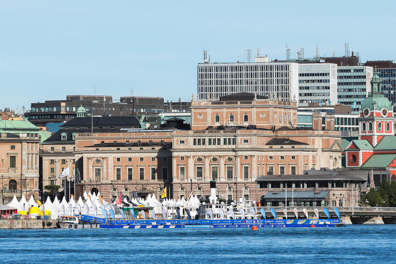 STOCKHOLM - AUG, 24: Start area before the start of the swimming stock image