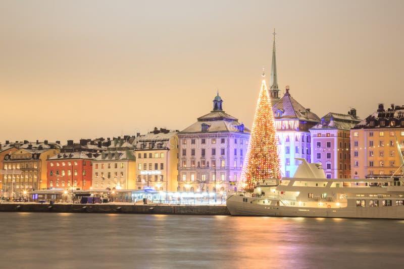 Stockholm bij Nacht royalty-vrije stock afbeelding