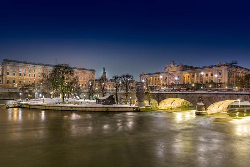 Stockholm city by night, Royal Palace and Parlament stock image