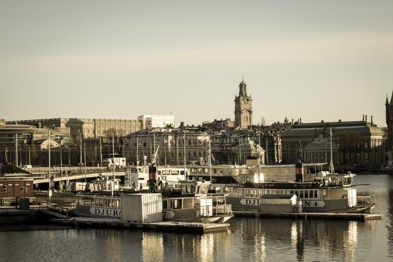 Stockholm city and sunrise stock image