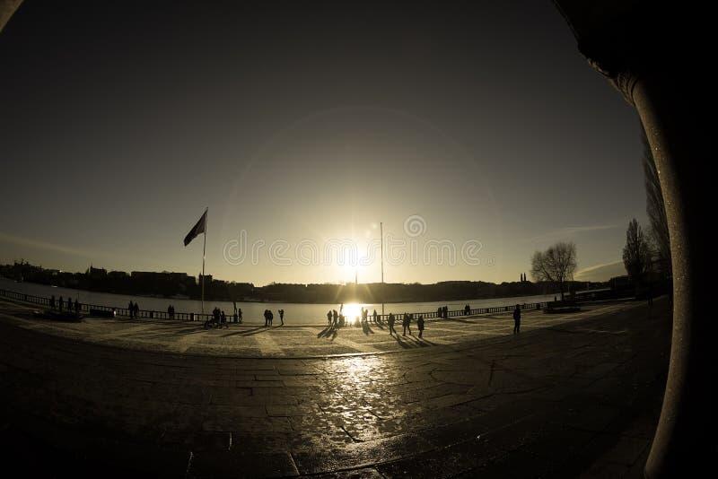 Stockholm city and sunrise royalty free stock image
