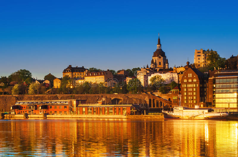Stockholm city view at sunrise royalty free stock image