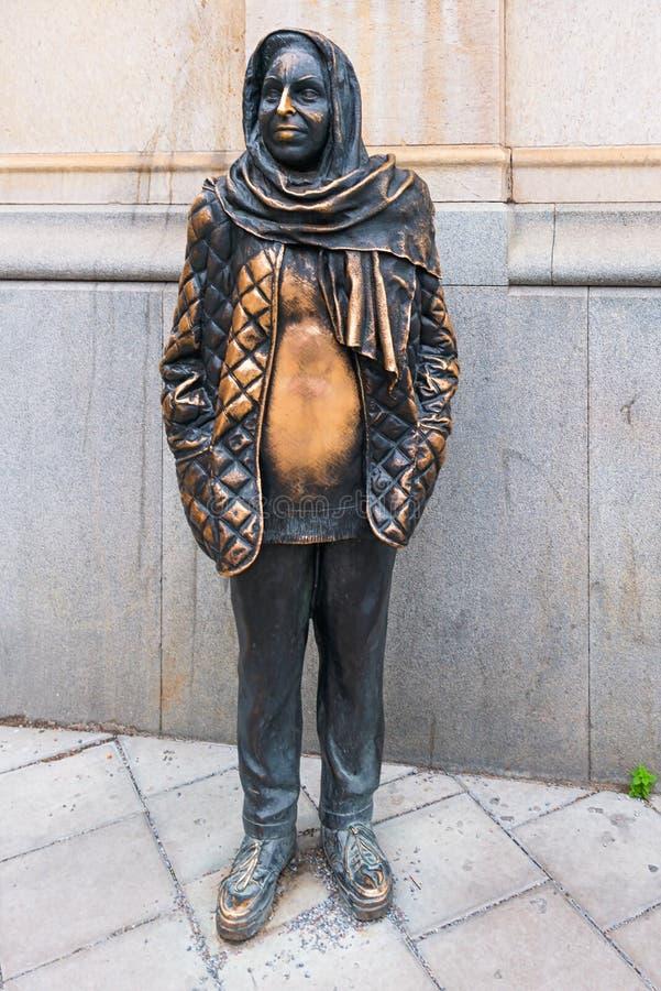 STOCKHOLM - 18 DEC: Standbeeld die de actrice Margaretha Kroo afschilderen stock afbeelding