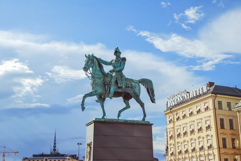 Stockholm : Equestrian statue of Charles XIV John, Karl XIV Johan Kung, King of Sweden and Norway, at the Royal palace royalty free stock photography