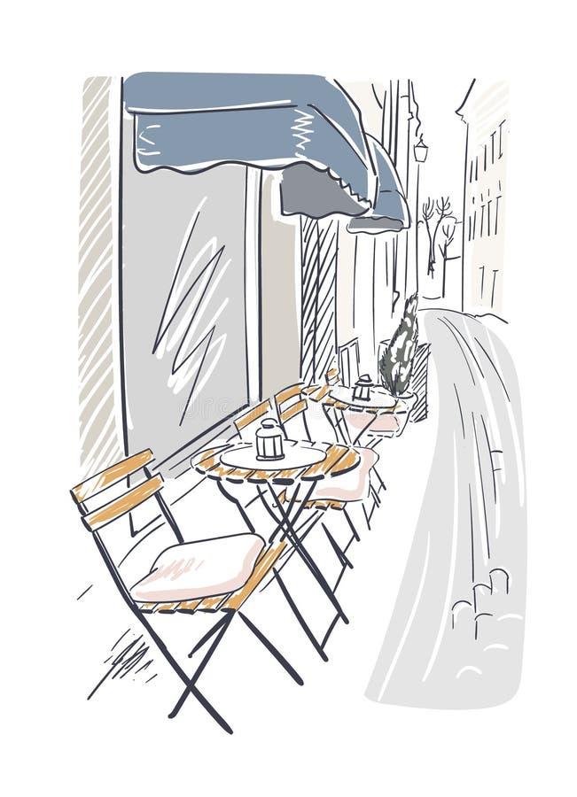 Stockholm för illustration för gatakafévektor europé Stockholm vektor illustrationer