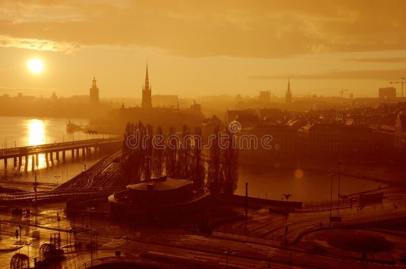 Stockholm golden sunset stock image