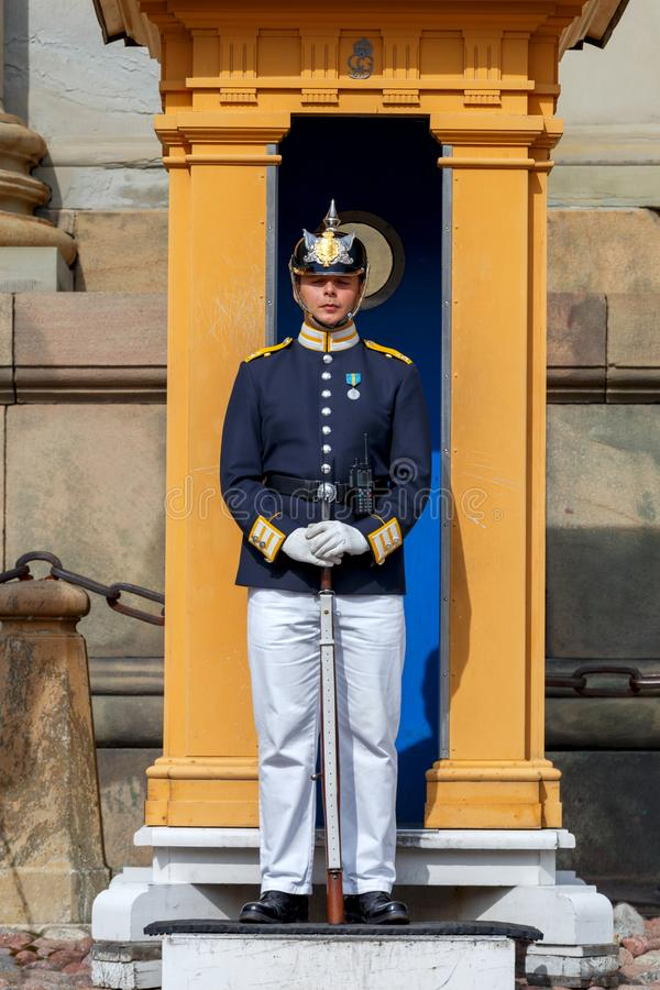Stockholm. A guardsman with a rifle. Stockholm, Sweden - August 25, 2018: The guardsman on duty near the royal palace royalty free stock image