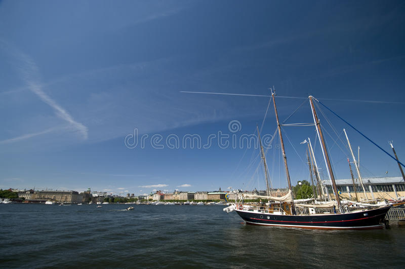 Download Stockholm harbor stock image. Image of port, moored, background - 10144689