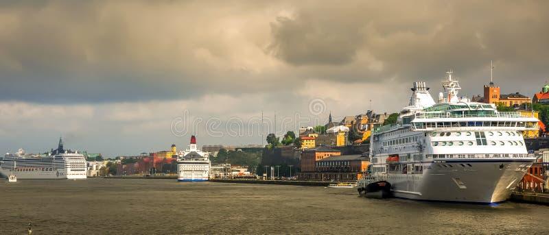 Stockholm harbor panorama Sweden cloudy old town cityscape landscape landmark. Amazing stock image