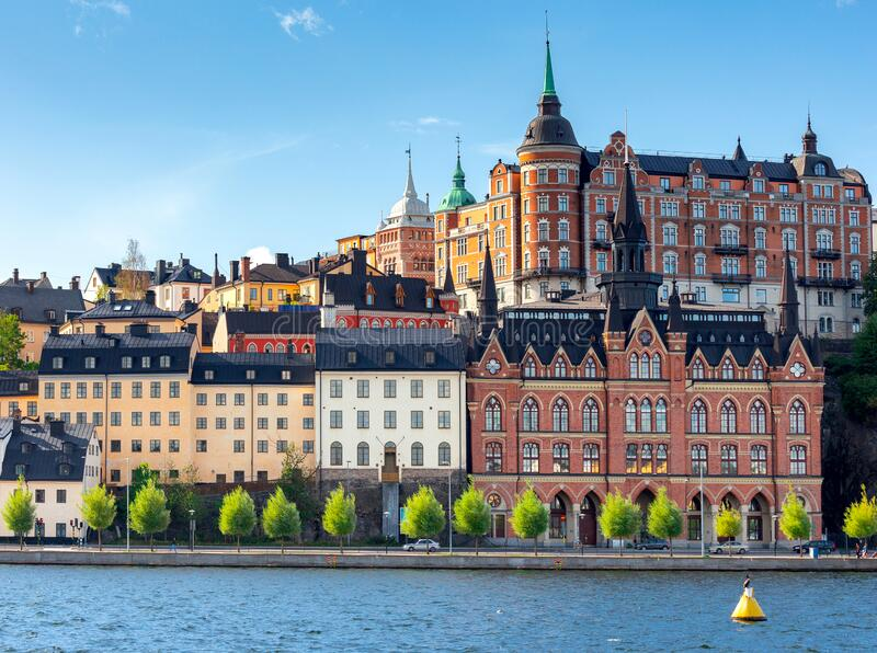 Stockholm. Houses on the waterfront. royalty free stock photo