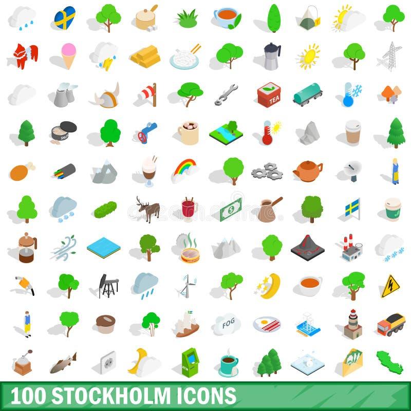 100 Stockholm ikon ustawiających, isometric 3d styl ilustracja wektor